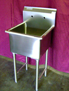 New 24x24 Stainless Steel Mop Sink 1 Compartment No Drainboard Nsf 7003 Wash