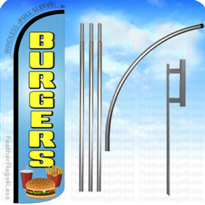 Burgers Windless Swooper Flag Kit Feather Banner Sign 15 Set Bz