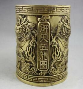 Collect Chinese Old Brass Handmade 5 Dragon Loong Brush Pot Pot Sculpture