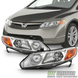 For Chrome 2006 2011 Honda Civic 4dr Sedan Headlights Headlamps 06 11 Left right