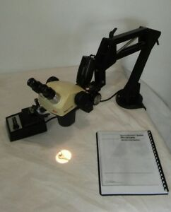 Leica Stereozoom Sz 4 Microscope 0 7 3 Microscope Boomstand 10x Eyepieces Light