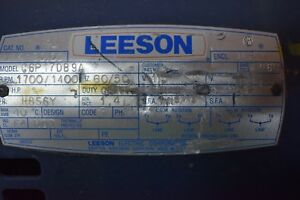 Leeson 1 Hp Eletric Motor 1700 Rpm Contiuse Duty 60cycle 1 Phase Motor