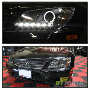 For Black 2001 2005 Lexus Is300 Led Drl Running Light Halo Projector Headlights