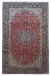 Semi Antique Navy And Red Persian Very Fine Isfahan Oriental Large Area Rug 8x12