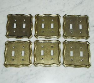 6 American Tack Howe N70tt Brass Tone Metal Double Light Switch Plate Covers