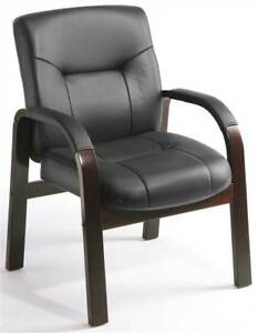 Mid back Guest Chair In Italian Black Leather id 10256