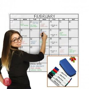 Wet Dry Erase Whiteboard Cool Wall Mount Classroom Extra Large Calendar Laminate