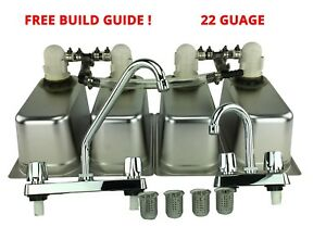Standard 4 Compartment Sink Set With Drain Trap Concession Stand Food Trailer