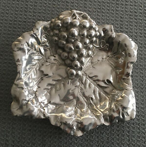 Godinger Silver Plate Candy Dish Bowl Shaped Grape Cluster Leaves Paul Revere