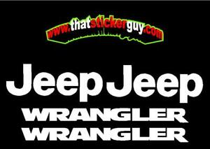 4 Pc Set Jeep Wrangler Replacement Vinyl Stickers Decals Yj Tj