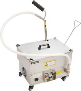New Portable Deep Fryer Oil Filter System Adcraft Of 40 Pump 6323 Cleaning Cart