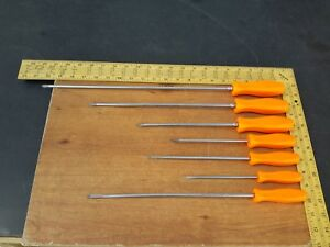 Snap On Tools Usa Lot Of 7 Screwdrivers Flat Phillips Orange Sddp162 Sdd146