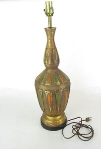 Vintage 50s 60s Ceramic Mid Century Modern Atomic Gold Foil Hand Painted Lamp