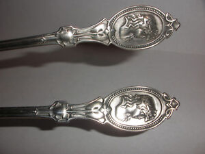 2 Pair Antique Coin Silver Hotchkiss Schreuder Medallion 6 Spoons 1860 S
