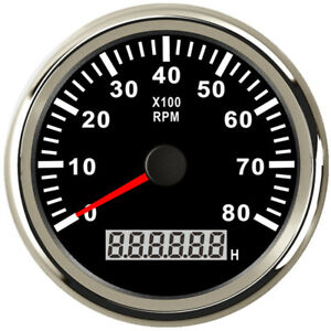85mm Black Tachometer 0 8000rpm For Gasoline Diesel Engine 9v 32v Free Shipping