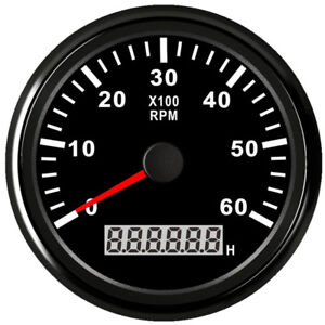 85mm Black Tachometer 0 6000rpm For Gasoline Diesel Engine 9v 32v Free Shipping