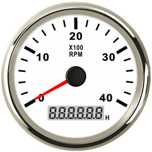 85mm White Tachometer 0 4000rpm For Gasoline Diesel Engine 9v 32v Free Shipping