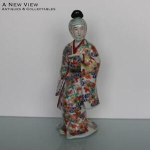 Antique Japanese Imari Of Bijin Lady Figure With Fan