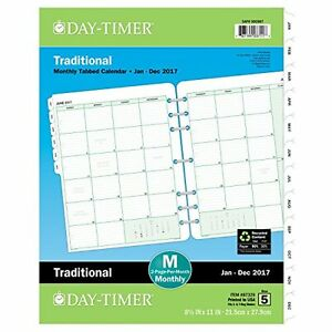 Day timer Monthly Planner Refill 2017 Two Page Per Month Loose leaf 8 5 X 11