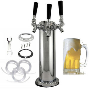Triple Tap Faucet Stainless Steel Draft Beer Tower 3 inches Column 3 Faucets