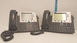 Lot Of 2 Cisco 7945 And 7940 Telephone Ip Voip Phone Base Handset