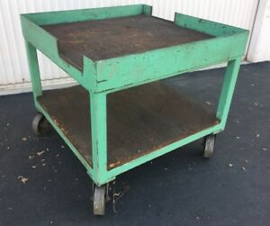 Heavy Duty Fabricated Steel Rolling Table cart 36 Square X 32 Tall