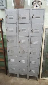 Vintage Lockers Storage For Childs Room Mud Room Garage Industrial Metal