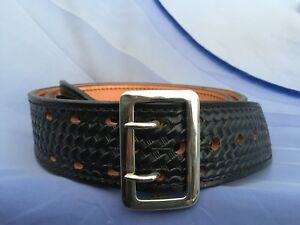 New Dutyman Sam Browne Black Leather Basketweave Outer Duty Belt Size 48 1021