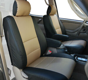 Toyota Tundra 2000 2003 Black Beige S Leather 2 Front Seat 2 Armrest Covers