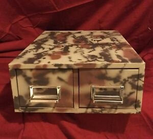 Metal Storage Cabinet With Two Drawers Painted In Nat Gear Camo Pattern