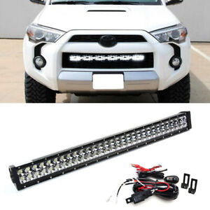 180w 30 Led Light Bar W Lower Bumper Bracket Wiring For 14 19 Toyota 4runner