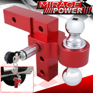 2 Receiver Red Heavyduty Aluminum Adjustable Dual Ball Mount Tow Hook Lock