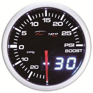 60mm Depo Racing Turbo Boost Gauge 30 Psi White Red Smoked Lens Wa6001led