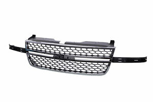 New Front Chrome Grille Gray Honeycomb Insert For Chevy Silverado 03 06 Pickup