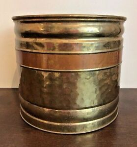 Vintage Hammered Brass Copper Bucket Coal Scuttle Flower Pot Plant Stand Large