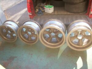 Vintage 1960 S 14x7 15x8 5 5 Spoke Mag Wheels Set Of 4 Day 2 Mustang Cuda Amx