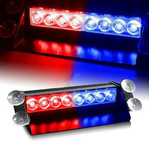 8 Led For Car Dash Strobe Lights Blue Red Flash Emergency Police Warning Lamp