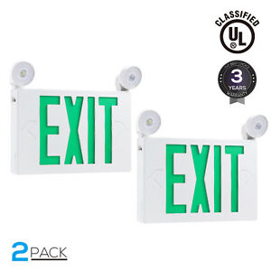 Green Led Exit Sign Ul listed Emergency Light Ac 120v 277v Battery Included