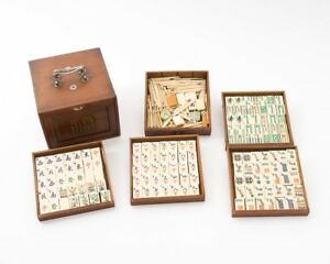 Antique Mahjong Game Set In Wood Box With 5 Drawers Carved Painted Pieces
