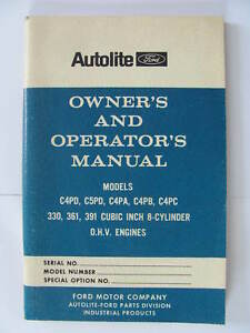 Ford Owners Operators Manual C4pd 330 361 391 Industrial Engine