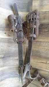 Vintage Adjustable Tree Climbing Pole Spikes Lineman Gaffs Buckingham Mfg