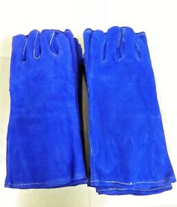 Pip Cowhide Leather Welding Gloves Blue Bison Large 13 1 2 Long Qty 8 73 7007