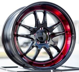 18x8 5 38 F1r F102 5x114 3 Black Red Lip Wheels Fits Rsx Tsx Civic Si Wrx 5x4 5