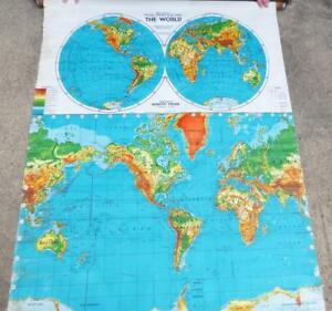 Vintage Weber Costello World Map Pull Down Canvas Wall School Contour Relief Map