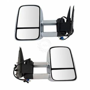 Towing Mirror Power Folding Heated Smoked Signal Memory Chrome Pair For Gm New