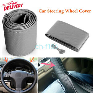 New Grey Diy Car Truck Pu Leather Steering Wheel Cover With Needles