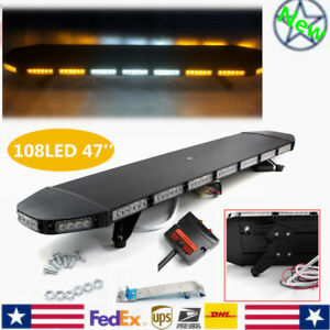 47 108led Light Bar Warn Beacon Tow Truck Strobe Response Amber white