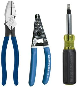 Klein Tools 3 Piece Electricians Tool Set Wire Stripper Screw Driver Pliers