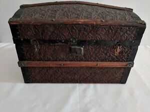 Dome Top Doll Toy Trunk 1880 Metal Embossed Cover Nice Original Condition