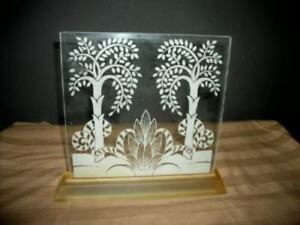Art Deco Style Lucite Base Glass Candle Screen Panel Frame Unusual Paris Apt